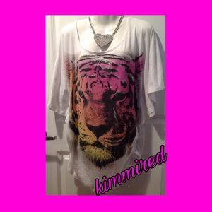 White Glitter Tiger Dolman Top/Shirt ~ 2X ~ EUC